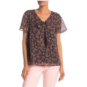 Pleione Tie Front Floral Flutter Sleeve Blouse NWT